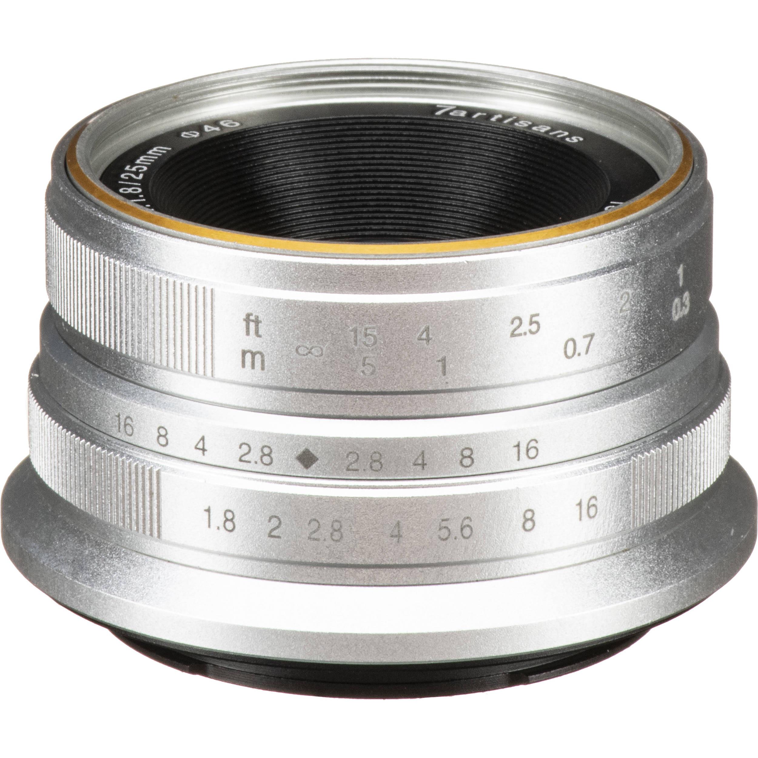 7Artisans 25mm f/1.8 Manual Focus Lens (Canon M) Silver