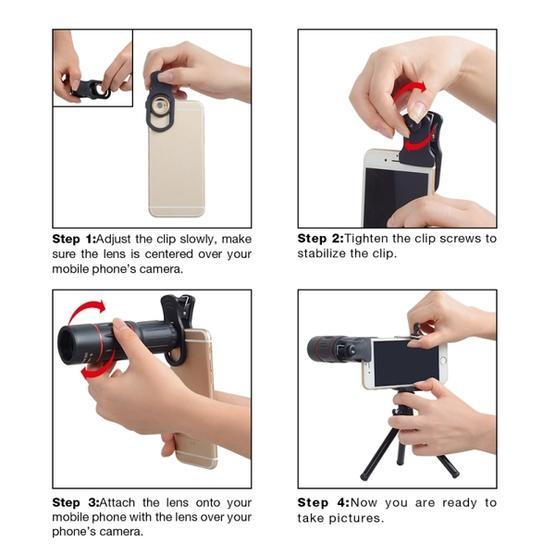 APEXEL APL-T18ZJ 3 in 1 Universal 18X Telephoto Lens + Tripod Mount + Mobile Phone Clip