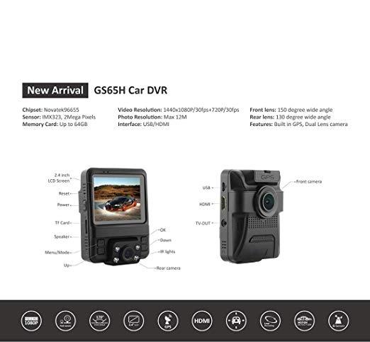 Car DVR - GS65H 2.4 inch LCD Screen HD 1080P